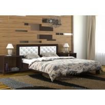 """Кровать """"Диана Люкс"""" DA-KAS (деревянная с мягкими подушками на изголовье)"""