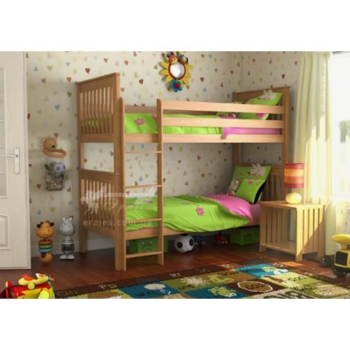 """Двох'ярусне ліжко """"Жасмин"""" DA-KAS (дерев'яне ліжко з бортиком та сходами)"""