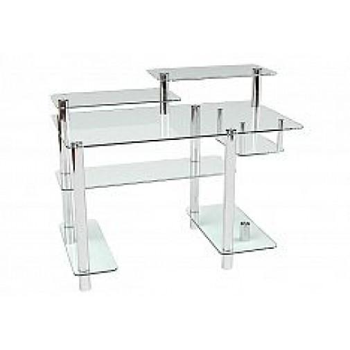 Компьютерный стол Р-10 ESCADO (стеклянный с хромированными элементами)