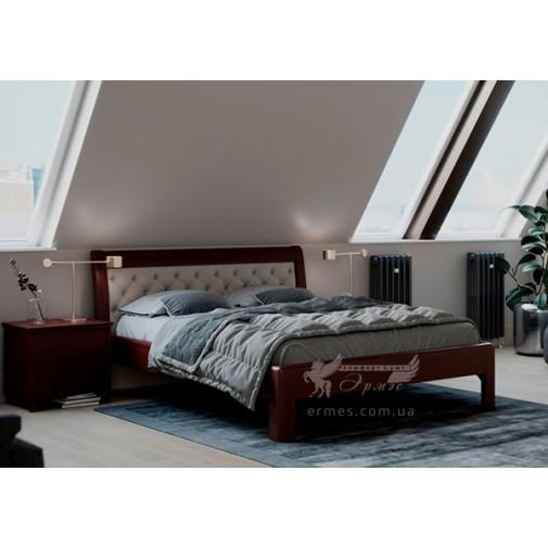"""Дерев'яне ліжко """"Княжна"""" GEN mebli (з високим м'яким узголів'ям)"""