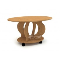 """Журнальный стол """"Венеция-2"""" Компанит (кофейный стол овальной формы на колесиках)"""