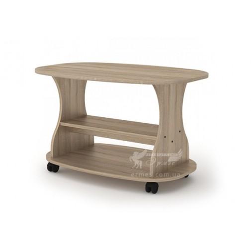 """Журнальный стол """"Каприз L"""" Компанит (прямоугольный с закругленными углами с колесиками)"""