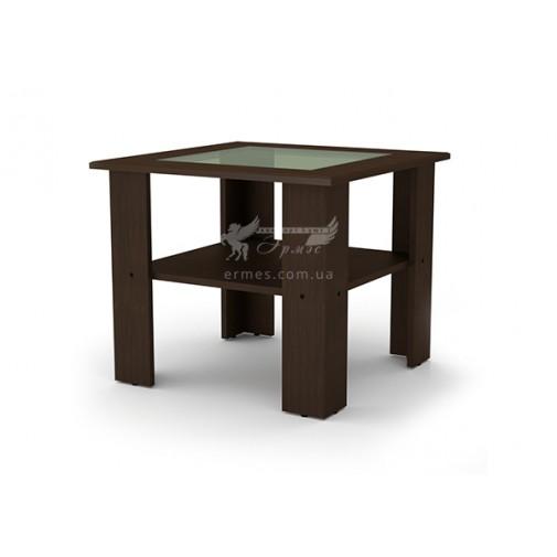 """Журнальный стол """"Мадрид"""" МДФ Компанит (квадратный кофейный столик со стеклянной вставкой)"""
