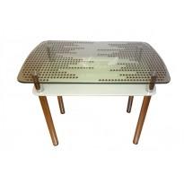 Стол обеденный С-19 M-Destin (стеклянный с дополнительной столешницей)