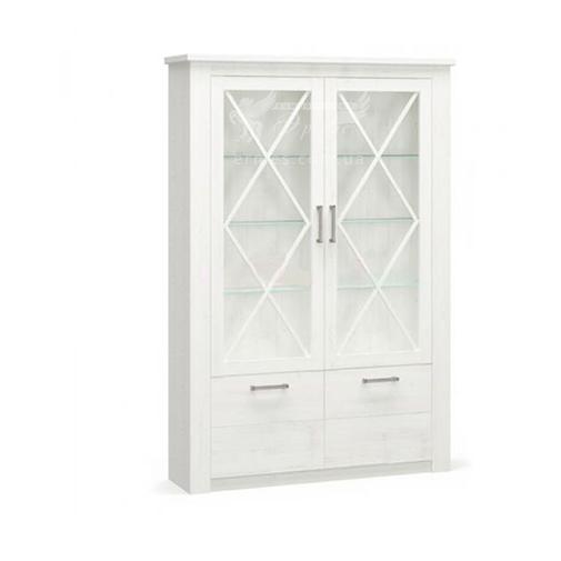 """Пенал 2Д2В """"Джорджия"""" Мебель Сервис (белый со стеклянными дверцами)"""