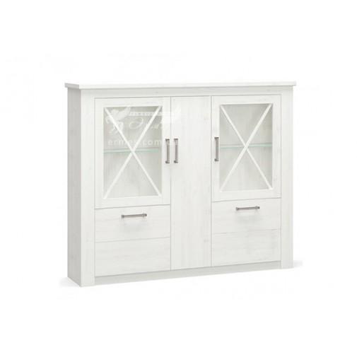"""Комод 3Д2В """"Джорджия"""" Мебель Сервис (белый со стеклянными фасадами)"""