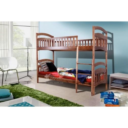 """Ліжко двоярусне """"Кіра"""" Мікс меблі (дерев'яна з бортиком)"""