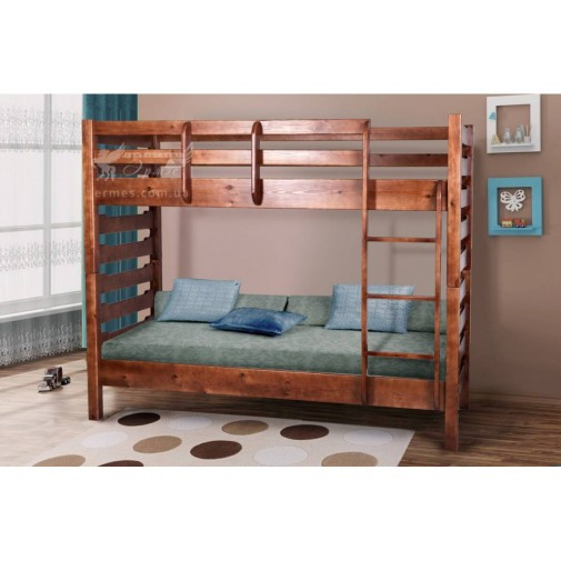 """Ліжко двоярусне """"Троя"""" Мікс меблі (дерев'яна зі сходами)"""