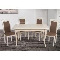 """Стол обеденный раскладной """"Мартин - Беж"""" Микс мебель (белый прямоугольный)"""