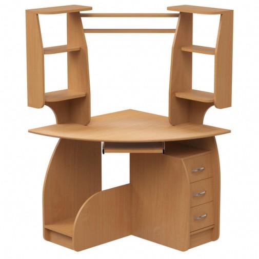"""Комп'ютерний стіл """"Камілла"""" Ніка меблі (кутовий з відрітімі полками)"""