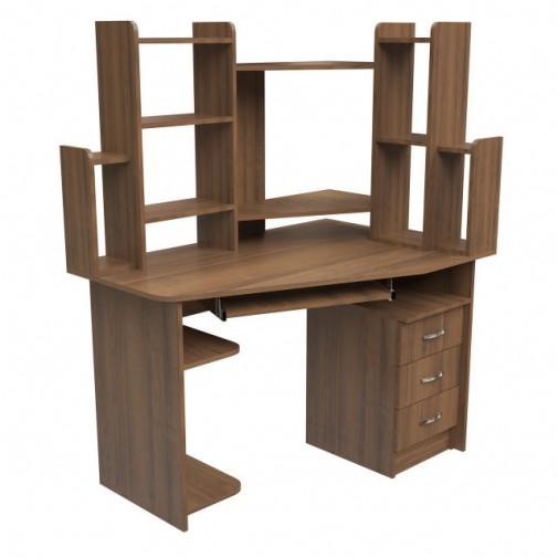 """Комп'ютерний стіл """"Прометей"""" Ніка меблі (кутовий з відкрітімі поліції)"""