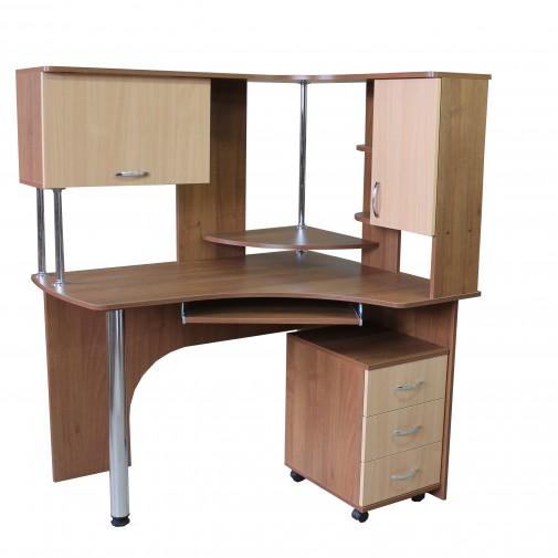 """Комп'ютерний стіл """"Борей"""" Ніка меблі (кутовий з надбудовою)"""