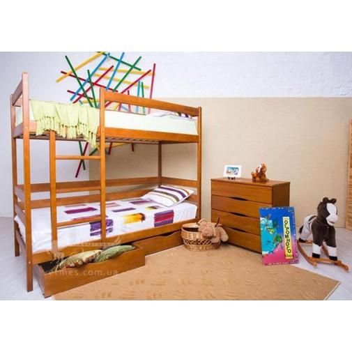 """Ліжко двоярусне """"Амелі"""" з ящиками Олімп (з драбиною)"""