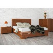 """Ліжко дерев'яне з інтарсією """"Мілена"""" Олімп (колір и розмір на вибір)"""