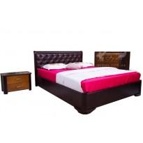 """Ліжко дерев'яне """"Мілена"""" м'яка спинка Ромбі Олімп (з м'яким узголів'ям)"""