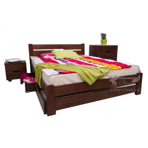 """Ліжко дерев'яна """"Айріс"""" з висувна ящиками Мікс меблі (з невісокім узголів'ям)"""
