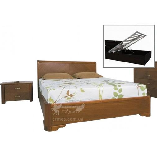 """Ліжко """"Мілена"""" з інтарсією та підйомним механізмом Олімп (з місцем для зберігання)"""