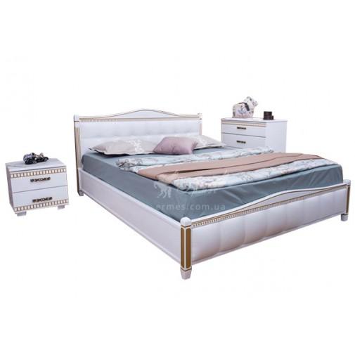 """Ліжко дерев'яна з м'якою оббивкою-квадрат """"Прованс"""" Олімп"""