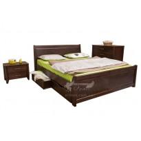 """Кровать деревянная """"Сити"""" с филенкой и выдвижными ящиками Олимп (двуспальная для гостевой комнаты)"""