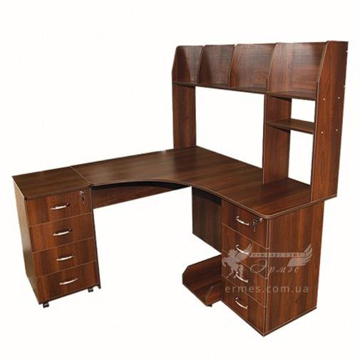Комп'ютерний стіл Nika 9 Ніка меблі (кутовий з відкрітою прибудова)