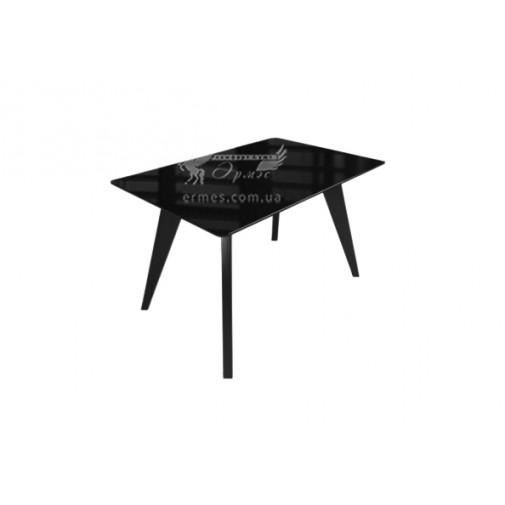 """Стол стеклянный на деревянных ногах """"Леонардо Черный"""" Sentenzo"""