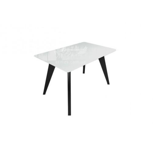 """Стол стеклянный на деревянных ногах """" Леонардо Бело-черный"""" Sentenzo"""
