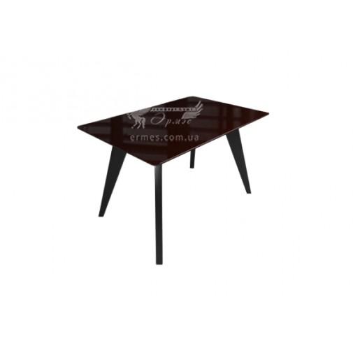 """Стол стеклянный на деревянных ногах """" Леонардо Коричнево-черный"""" Sentenzo"""