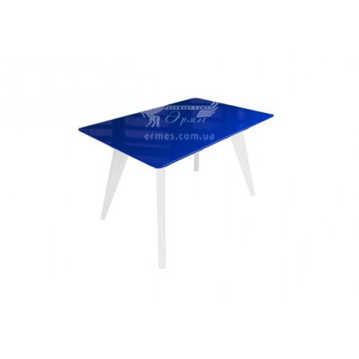 """Стол стеклянный на деревянных ногах """" Леонардо Сине-белый"""" Sentenzo"""
