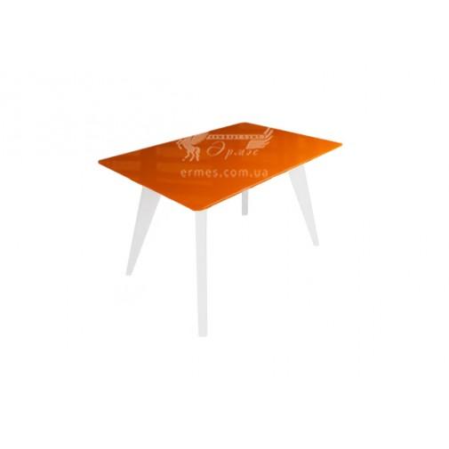 """Стол стеклянный на деревянных ногах """"Леонардо Оранжево-белый"""" Sentenzo"""