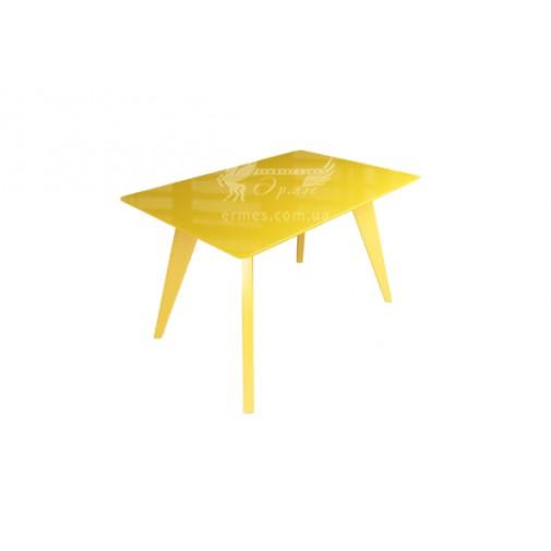 """Стол стеклянный на деревянных ногах """"Леонардо Желтый"""" Sentenzo"""