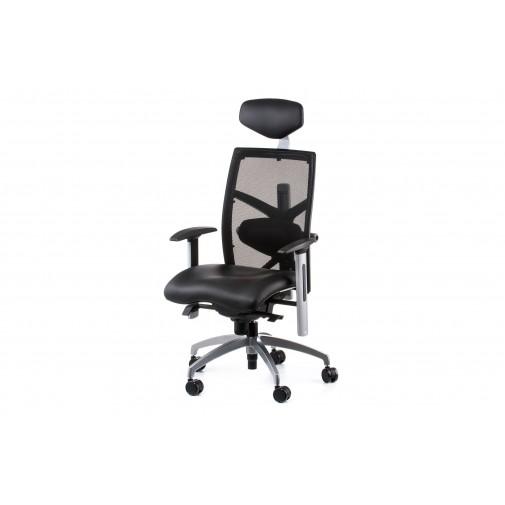 Кресло руководителя  еxact black lеathеr, black mеsh Е0604 Special4You (с хромированной базой)