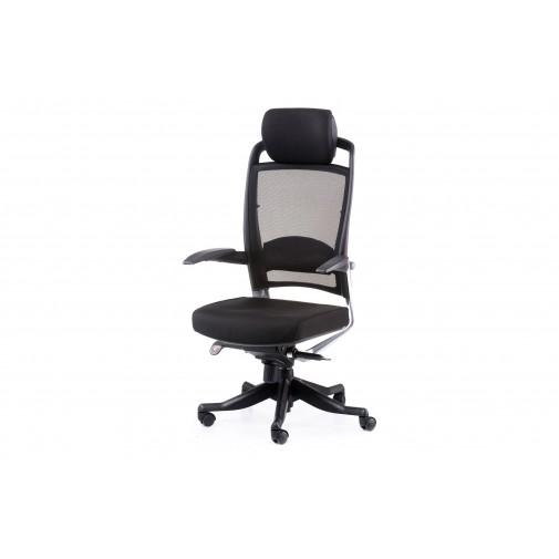 Кресло руководителя  Fulkrum black fabric, black mеsh Е0611 Special4You (с встроенным подголовником)