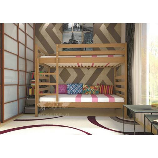 Ліжко ТИС Трансформер Бук (дерев'яне зі сходами и бортиком)