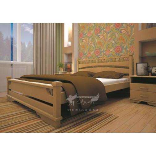 Кровать ТИС АТЛАНТ 1 Бук (деревянная с высоким декорированным изголовьем)
