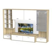 Гостиная - 113 Тиса мебель (прямая со стеклянными витринами)