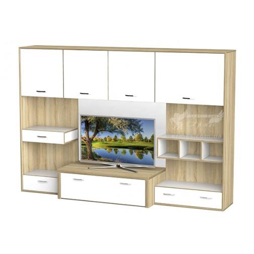 Гостиная - 104 Тиса мебель (прямая с открытыми полками)
