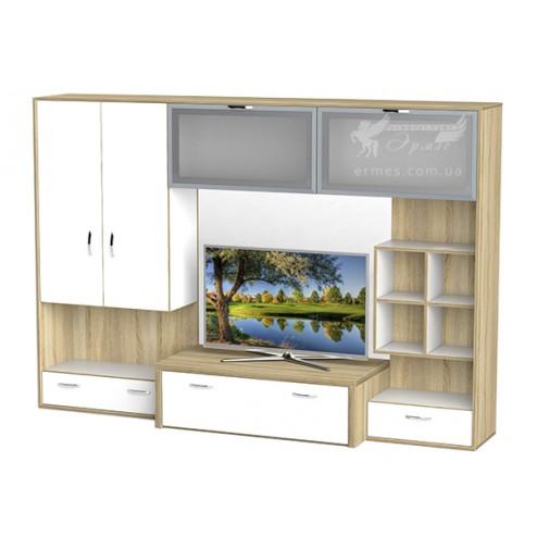 Гостиная - 115 Тиса мебель (прямая со стеклянными витринами)