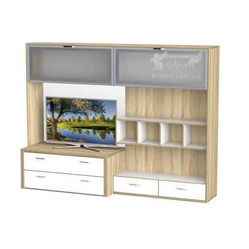 Гостиная - 116 Тиса мебель (прямая с открытыми полками и ящиками)