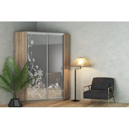 Угловой шкаф-купе с рисунком на зеркале Гарант