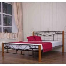 """Кровать металлическая c деревянными ногами """"Эмили"""" Melbi"""